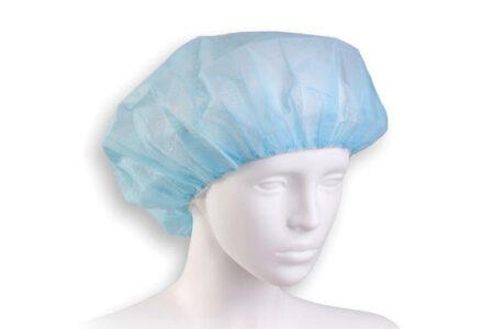 czepek jednorazowy beret kosmetyczny niebieski manekin